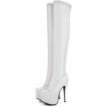[G7LZ] 10.5cm ロングブーツ レディース ホワイト ロング 疲れない 大きいサイズ ブーツ 厚底 美脚 ストレッチ 黒 ハイヒール ピンヒール ブラック 24.0cm スムース ポインテッドトゥ 歩きやすい 痛くない 大人 上品 セクシー エレガント