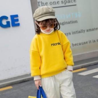 韓国子供服 パーカー 男女兼用 新作 ファッション カジュアル ワンピース プリント柄 防寒 韓国風 可愛い 着まわし インナー 裏ボア 加厚