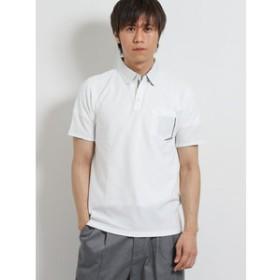【TAKA-Q:トップス】DRY ヘリンボンジャガード スキッパー半袖ポロシャツ