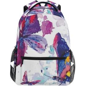 NINEHASA 新しいリュックサック人気リュックおしゃれ 大容量 軽量 通学 旅行ハイキングキャンプバッグ 蝶の水彩画アートモダンプリント