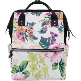 MIMUTI バックパック 熱帯の花柄の蝶 男女兼用 通学 通勤 旅行 スポーツ バッグ