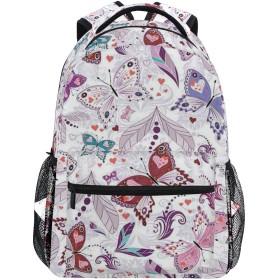 NINEHASA 新しいリュックサック人気リュックおしゃれ 大容量 軽量 通学 旅行ハイキングキャンプバッグ 心と蝶のカラフルな花のアートユリの花のロマンチックなデザイン