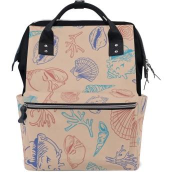 MIMUTI バックパック カラフルな海のテーマのシームレスなパターンデザイン 男女兼用 通学 通勤 旅行 スポーツ バッグ