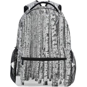 NINEHASA 新しいリュックサック人気リュックおしゃれ 大容量 軽量 通学 旅行ハイキングキャンプバッグ 雪に覆われた山の白irの森