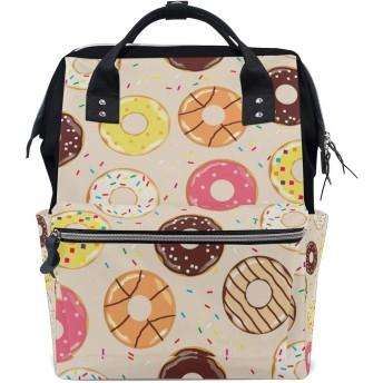 MIMUTI バックパック ベクトルイラストシームレスなドーナツの背景 男女兼用 通学 通勤 旅行 スポーツ バッグ