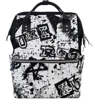 MIMUTI バックパック ベクトルイラスト抽象的なブラックホワイトグランジ 男女兼用 通学 通勤 旅行 スポーツ バッグ