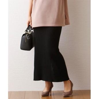 バックスリットリブニットスカート (ロング丈・マキシ丈スカート)Skirts, 裙子