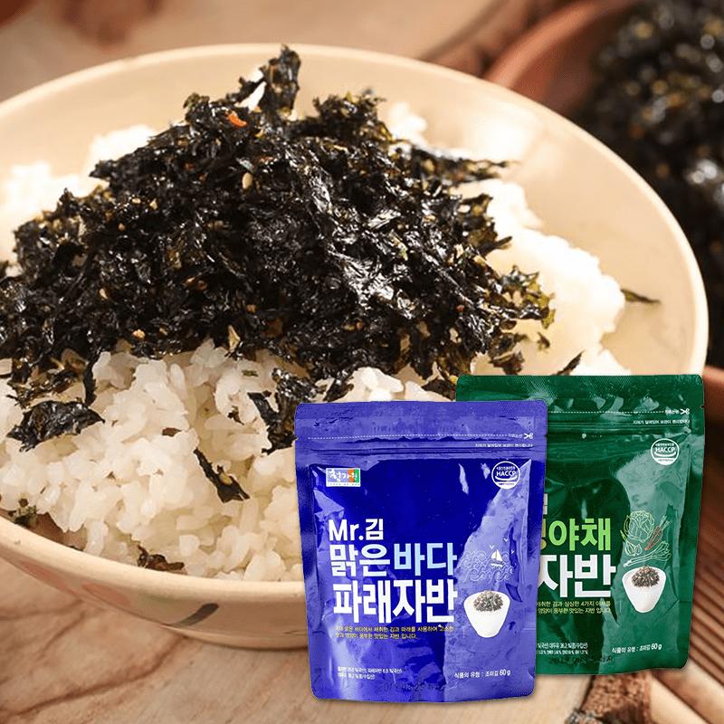 超人氣【韓國金先生】SAJO海苔酥,不用親自跑去韓國就可以輕鬆享用啦!香氣逼人的海苔香,酥脆鹹香好下飯!為純白的白米飯加上繽紛配菜,還可親子同樂一起捏飯糰,大人小孩都愛吃!原味、蔬菜兩種任選,美味料理