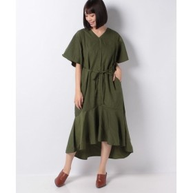 【グリーンパークス】裾切替フレア7分袖ワンピ−ス