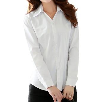 AISHITE シャツ ドレスシャツ ブラウス 長袖 白 シャツ ホワイト カッターシャツ オフィス レディース yシャツ しっかりした 生地