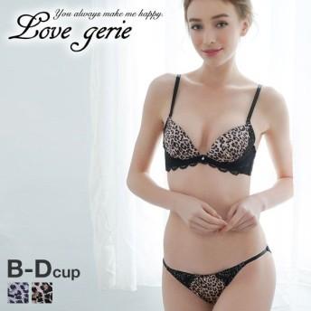 (ラブジェリー)Love gerie サテン 豹柄 ブラジャー ショーツ セット BCD(49487847)