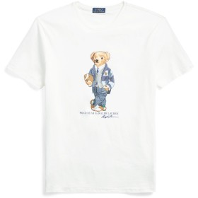 《セール開催中》POLO RALPH LAUREN メンズ T シャツ ホワイト S コットン 100% CUSTOM SLIM FIT BEAR T SHIRT