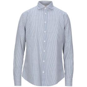 《セール開催中》BASTONCINO メンズ シャツ ブルー 42 リネン 55% / コットン 45%