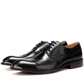 [ShiSyan] ビジネスシューズ メンズ 紳士靴 ドレスシューズ メンズ レザー シューズイングランドカラーマッチング ビジネス カジュアル クロコダイルパターン彫刻クラフト メンズシューズ カジュアル おしゃれ 出張 旅行 宴会 飲み会 パーティー 結婚式 就職面接 (Color : Black, Size : 41)