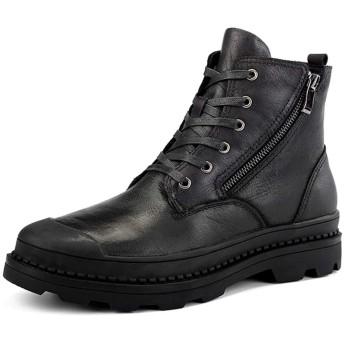 [WEWIN] ブーツ エンジニアブーツ メンズ サイドジップ レースアップ 本革 ハイカット ミリタリーブーツ 厚底ブーツ アウトドアシューズ 大きいサイズ 秋冬 ファッション 柔らかい 履き心地 防滑 防寒 靴