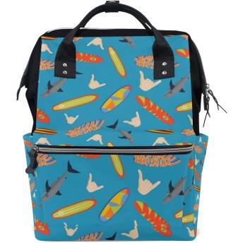 MIMUTI バックパック ベクトル現代のカラフルなサーフィンボードセット 男女兼用 通学 通勤 旅行 スポーツ バッグ