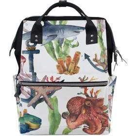 MIMUTI バックパック 水彩のシームレスパターンサメアンカー海 男女兼用 通学 通勤 旅行 スポーツ バッグ