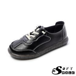 【SOFT WALK 舒步】真皮復古拼接時尚厚底休閒鞋 黑