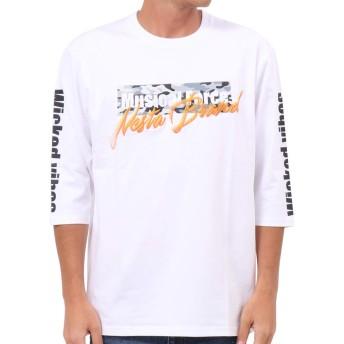 [ネスタ ブランド] NESTA BRAND Tシャツ 七分袖 グラデーション 刺繍 迷彩 193NB1100 ホワイト XXL