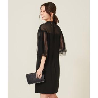 【オンワード】 FeteROBE(フェテローブ) シアーベルスリーブ ドレス ブラック 9 レディース 【送料無料】