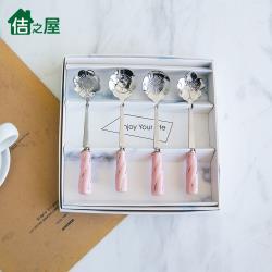 佶之屋 台灣製 精緻小巧陶瓷柄花型咖啡匙/茶匙4入