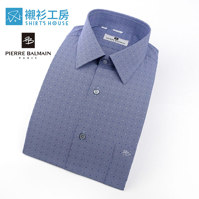 皮爾帕門pb藍底深藍及白點時尚流行小點合身長袖襯衫68164-05 -襯衫工房