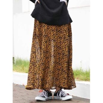 Ungrid アニマルプリントスリットスカート(ブラウン)