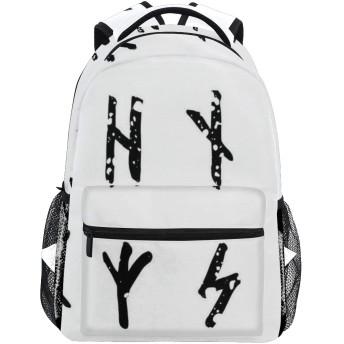 NINEHASA 新しいリュックサック人気リュックおしゃれ 大容量 軽量 通学 旅行ハイキングキャンプバッグ 手書きの汚れたルーン文字アルファベットフサルクスカンジナビアゲルマン文字