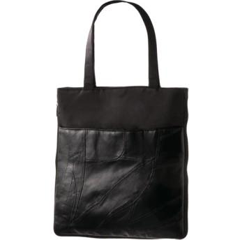 ラム革パッチワークトートバッグ ブラック (1個)