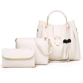 ACHICOO クロスボディバッグ ハンドバッグ シングルショルダーバッグ レディーズ レトロバケットバッグ ソリッドカラー 9本/セット 女性 ファッション 白 ワンサイズ