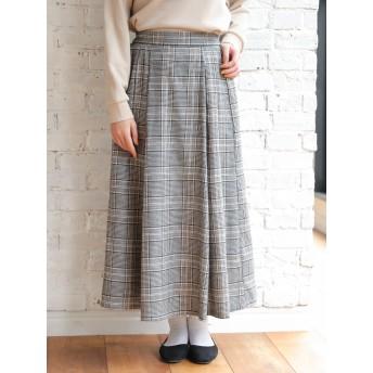 【6,000円(税込)以上のお買物で全国送料無料。】グレンチェックマキシスカート