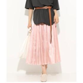 【ViS:スカート】シャイニーサテンフェードアウトプリーツスカート