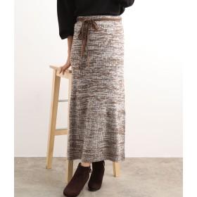 ViS(ビス)/【WEB限定】ウエスト紐メランジニットスカート