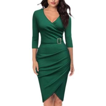 maweisong 女性セクシー3/4スリーブVネックフェイクラップシースカクテルパーティー鉛筆ドレス Green XL