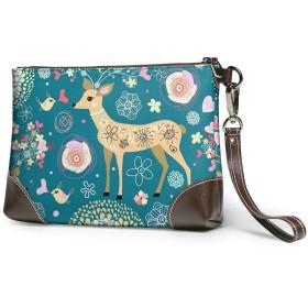 財布 トレンディな鹿 レザークラッチ ボックス 軽量 防水 出張や旅行にを使用できます。
