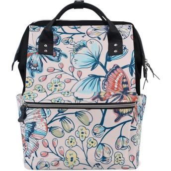 MIMUTI バックパック ベクターの花柄シームレスパターンヴィンテージ蝶 男女兼用 通学 通勤 旅行 スポーツ バッグ