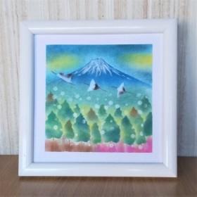 2800→2500【雪降る山】額込 パステルアート