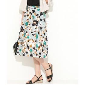 【ViS:スカート】フラワープリントフレアタックスカート