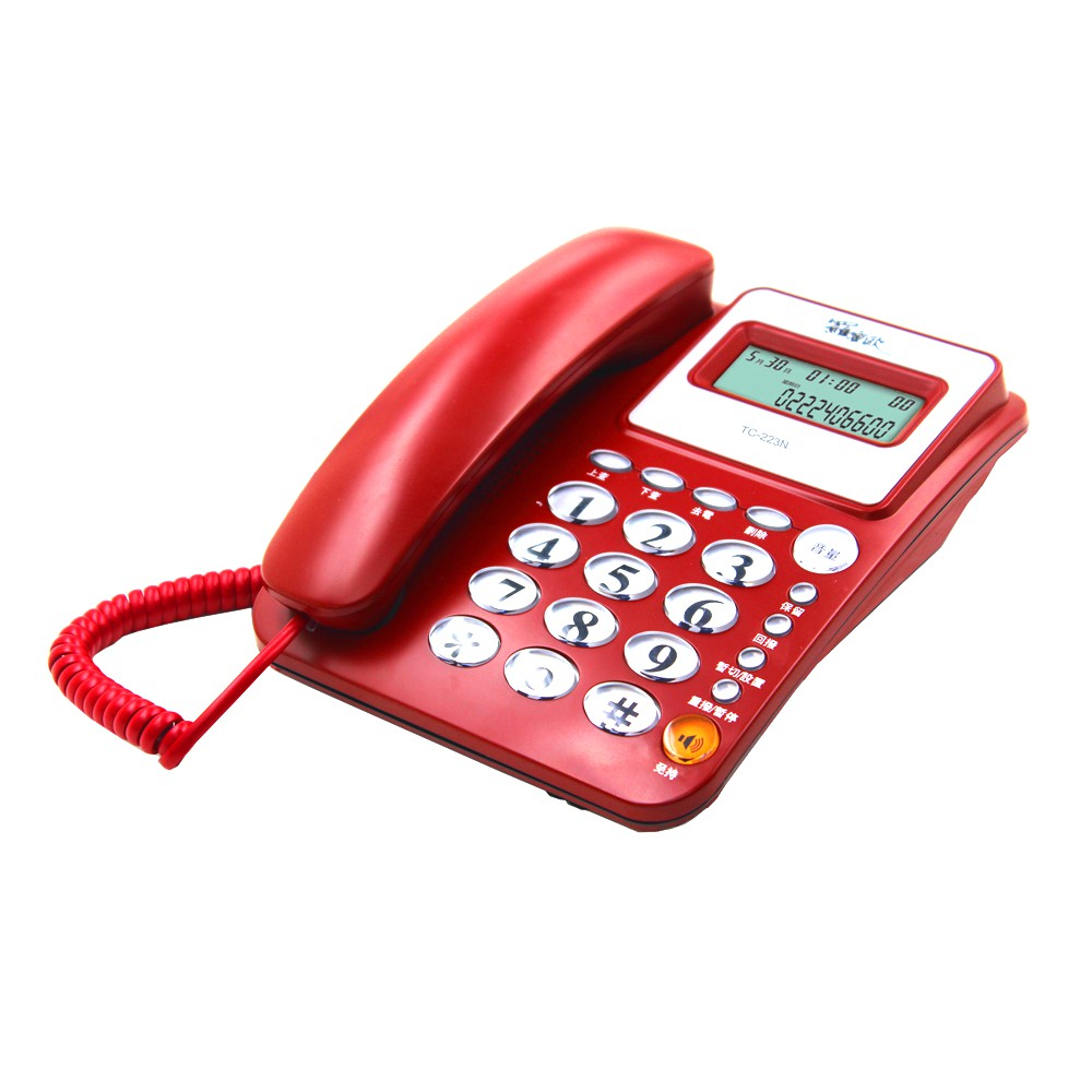 【羅蜜歐】來電顯示有線電話TC-223N紅色