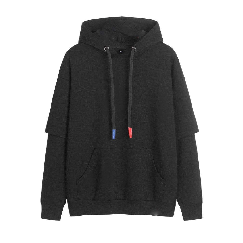 YUNY Mens Hooded Pure Long-Sleeve T-Shirts Pullover Casual Sweatshirts AS2 XS