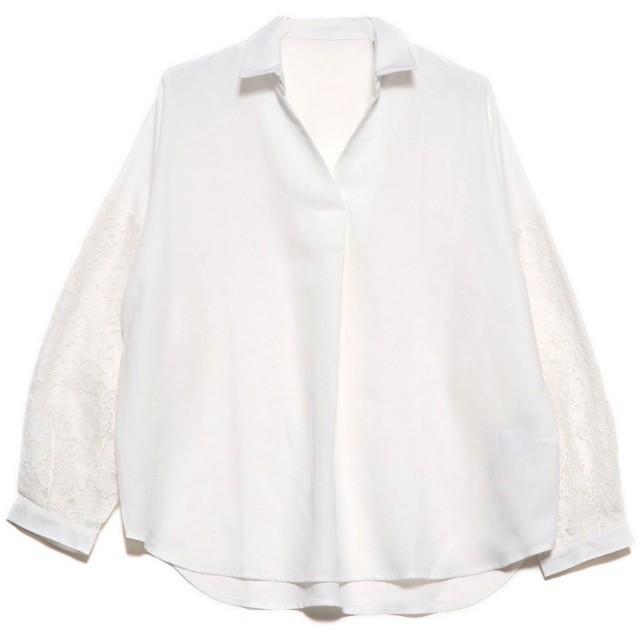 ラナン Ranan 袖レーススキッパーシャツ (オフホワイト)