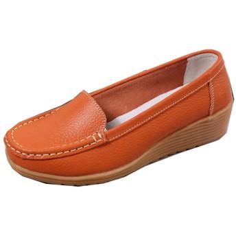 [YXSNG] モカシン レディース オレンジ色 痛くない 歩きやすい 秋冬 あったか おしゃれ ふかふか 親子 おそろい リボン かわいい フラット ぺたんこ シューズ 防寒 靴 秋 23.0cm 冬 もこもこ 大きいサイズ あったか 歩きやすい 車用靴