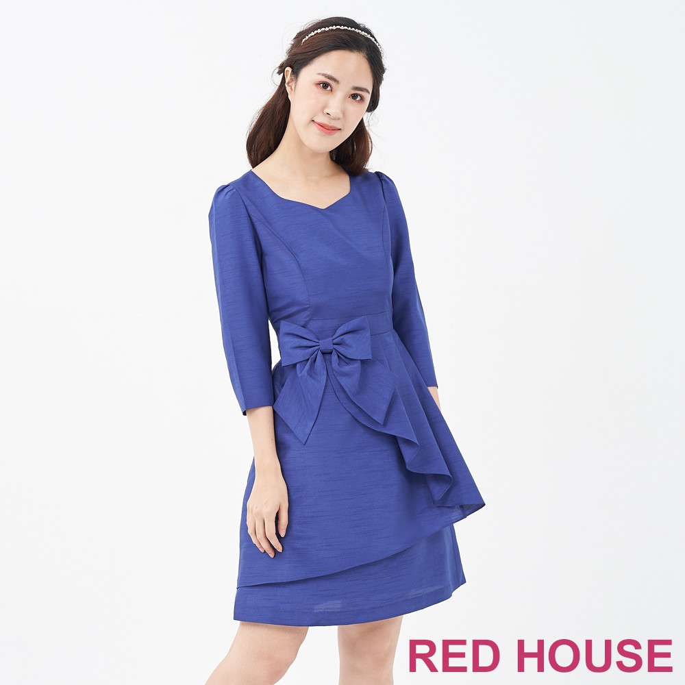 【RED HOUSE 蕾赫斯】波浪蝴蝶結洋裝共二色)