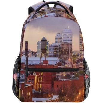 NINEHASA 新しいリュックサック人気リュックおしゃれ 大容量 軽量 通学 旅行ハイキングキャンプバッグ アメリカ合衆国リッチモンドバージニア州印刷