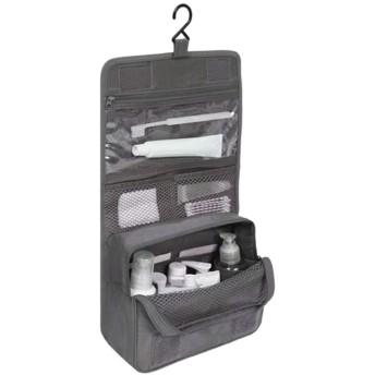 女性男性大防水化粧バッグ旅行美容化粧品バッグオーガナイザーケース必需品メイクアップトイレタリーバッグ グレー