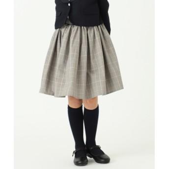 こども ビームス ARCH & LINE / チェックギャザー スカート 19(100~145cm) キッズ 膝丈スカート WHITE S(100-110)