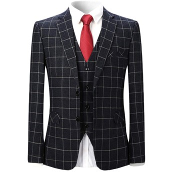 WEEN CHARM メンズスーツ 2点セット チェック柄 スリムスーツ 防シワ ビジネス カジュアル 結婚式 格子スーツ ジャケット スラックス スーツセット 二次会 スタイリッシュスリムスーツ