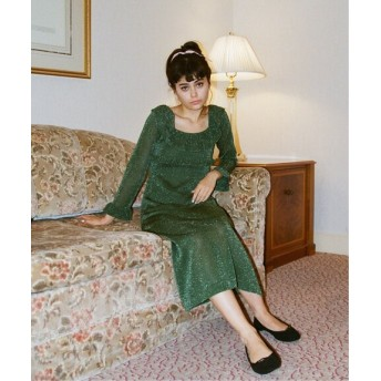 Charles Chaton night party knitdress グリーン フリー