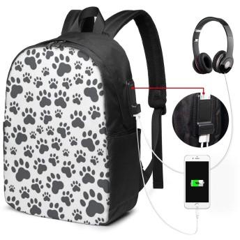 犬の足跡 リュック USB充電ポート付き PCバッグ リュックサック イヤホン穴付き 大容量 多機能