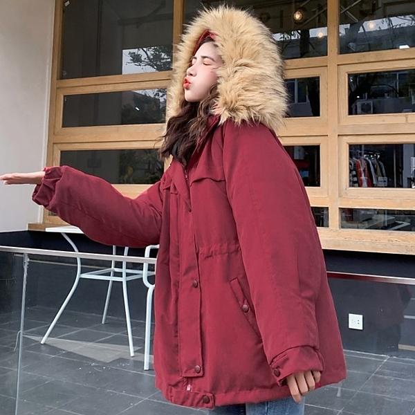 工裝外套 工裝棉服女羊羔絨加厚冬季外套韓版寬鬆學生大毛領ins棉衣潮【快速出貨】